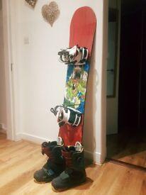 Artifact Rocker Snowboard 156 + White K2 Clinch CTS Bindings + DC boots size 7/8