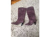 Shelleys of London plum suede heeled boots - size 39