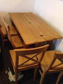 Laura Ashley Brompton oak dining table with 4 chairs