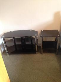 Glass tv stand and table