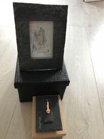 Stone finish dark grey photo frame and matching clock NEW in box