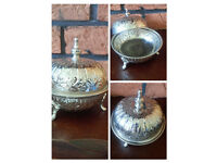 Handmade Moroccan silver sweets/sugar bowl with a lid - brand new