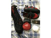 Climbing harness, chalk bag and shoes size 6