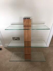 NEXT three tier glass wall shelving