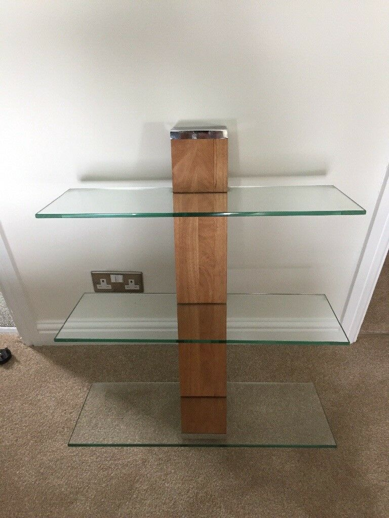 NEXT three tier glass wall shelving