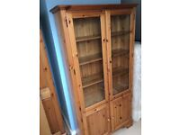 Pine wardrobe and glass fronted bookcase