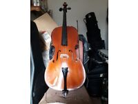 3/4 Stentor II cello with soft case and bow. Good condition with a few minor dings.