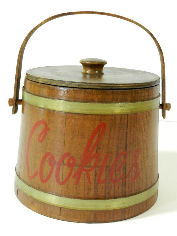Vintage Wood Firkin Sugar Bucket Cookie Jar
