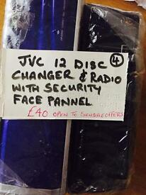 JVC 12 disc changer & radio with security face pannel