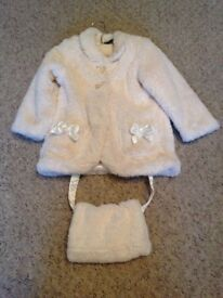 BABY GIRL CREAM FAUX FUR COAT WITH HAND MUFF