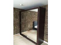 Berlin 2 Door Sliding Mirrored Wardrob- Brand New in White Oak Black Wenge Walnut colors