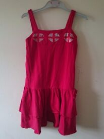 Summer dress in red colour for 10 yr old girl.