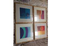 4x framed prints in light wooden frame