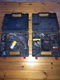 Two Bosch drills with box and batterys