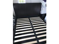 Leather ottoman sleigh double bed