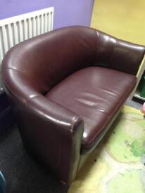 Brown tub sofa/settee