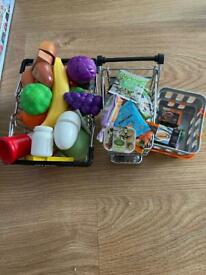 M&S little shop trolley, basket and food bundle with plastic food play tpys