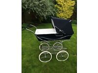 Silver Cross coach built pram, navy, beautiful condition, with accessories