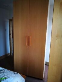 REDUCED - Double Ikea wardrobe with trouser rail