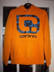 Boys Carbrini Orange Hooded Jumper Age 12-13 Years IP1