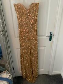 Gold sequin strapless prom dress size 8