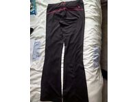 ladies long bootleg pineapple gym trousers, size 10