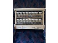 Retro spice rack - with 16 jars, all labelled - COLLECTION ONLY