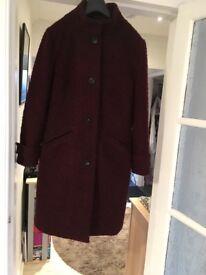 Beautiful burgundy boucle wool full length M&S coat.