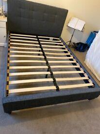 dark grey double bed including slatted base