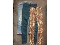 Tall Ladies Trousers - 2x jeans and 1x leggings - all Topshop size 12/W30 L36.