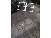 Light weight collapsible music stand, metal, white, good condition, £4, Wigston