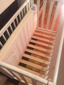 Space Saver baby Cot / Crib - White + Mattress