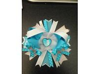 Frozen Elsa stacked hair bow clip