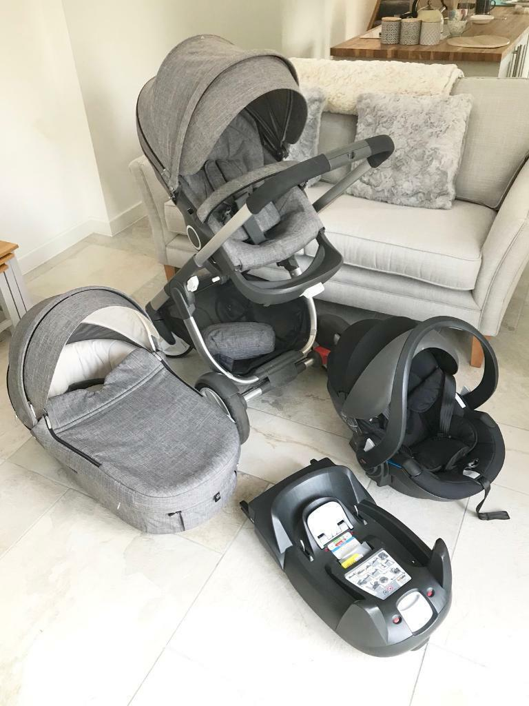 Stokke Crusi Black Melange Grey With Car Seat And Isofix Trailz 200 If Sold This Weekend In Uddingston Glasgow Gumtree