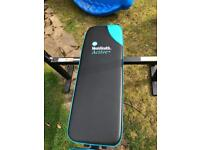 Men's Health folding workout bench with 35kg weights - now sold