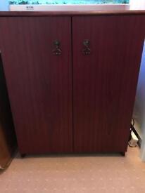 Burgundy wooden cabinet