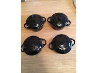 4x Small Ceramic Cooking Pot – 10cm Diameter