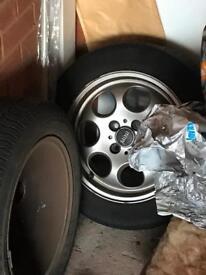 4 mini wheels with tyres