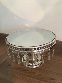 """12"""" round mirror cake stand with crystal droplets"""