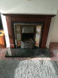 Solid mahogany fireplace surround with cast iron insert granite hearth upcycle