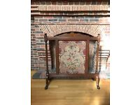 Lovely Wooden/Tapestry Fireplace Guard