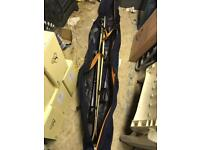Solomon skis poles and carry bag