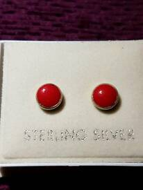Red coral studs