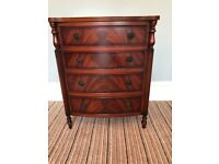 Chest of drawers small mahogany shaped feet and detailed storage wooden antique