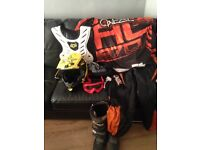Moto x Gear helmet boots suit body armour googles and gloves