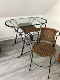 Glass/Rattan Table with 2 chairs
