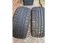 A pair of hardly used tyres