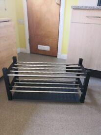 Ikea black Tjusig 2 tier shoe rack / storage and shoe mat, £12 for both