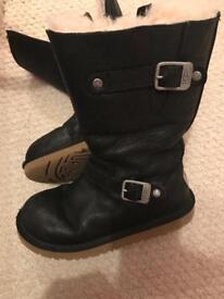 Black biker UGG boots