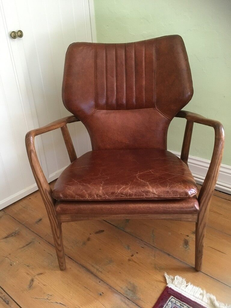 Laura Ashley Whitworth Chair In Leather Oak New Unused